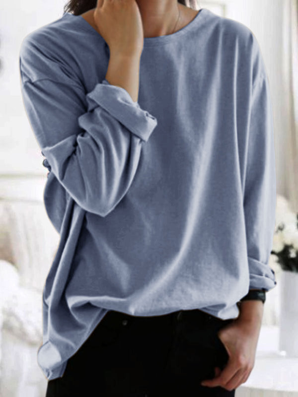 Long Sleeve Plain Shirts & Tops