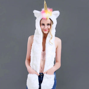 Unicorn LED Faux Fur Hood With Pockets
