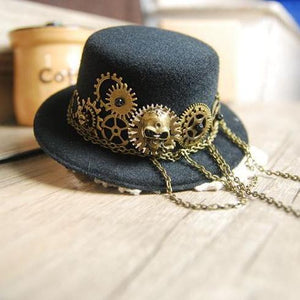 Retro Black Skull & Gears Chains Mini Top Hat Punk Steampunk Lolita Cosplay Hat Fedoras Hats