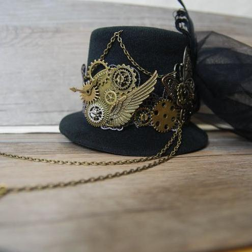 Unique Stunning Black Steampunk Mini Top Hat Chains Bow Feathers Gears Butterfly Accessory Hats For Party