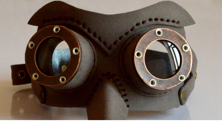 Steel Master Steampunk Men Women's Retro Brown Eye Mask Party Bar Cosplay Googles Classic Vintage Halloween Stage Masks For Auge