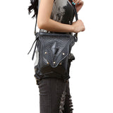 Fashion Gothic Steampunk Skull Bag Retro Rock bag Men Women Shoulder Bag Phone Case Holder leg women messenger Waist bags