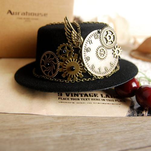 Steampunk Gear & Clock Chain Mini Top Hat Lolita Cosplay Fedoras Hat Black