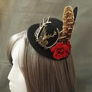 Handmade Victorian Steampunk Mini Top Hat Deer Head Flower Feather Accessory Vintage