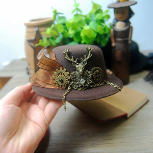 Handmade Mini Victorian Hat with Deer Head Gear Ribbon Steampunk Top Hats Party Halloween Hair Clip Accessories
