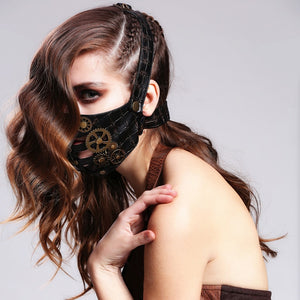 Gothic Punk Women Men Rock Black Leather Mask Halloween Cosplay Half Face Masks with Metal Gear Steampunk