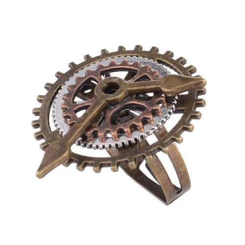 Vintage Design Three OX Colors Combined Clock Pointer Gears Steampunk Ring for Fashion Women