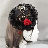 Steampunk Victorian Vintage Gears Fedoras Chain Mini Top Hat Handmade Gothic Hats for Girls