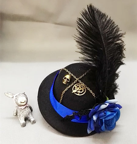 Victorian Mini Top Hat With Feather & Blue Red Rose Handmade Goth Steampunk Gear Skull Chain Veil Hair Accessories