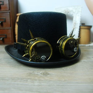 Cyber Steampunk Hat With Goggles Gothic Fancy Dress Vintage Retro Cosplay Hats Handmade Punk Hats