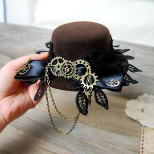 3e61fb098f1fa Vintage Lace Big Bow Lolita Cosplay Mini Top Hat with Gears for Men Women Steampunk  Party ...