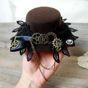 Vintage Lace Big Bow Lolita Cosplay Mini Top Hat with Gears for Men Women Steampunk Party Hair Accessories