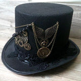 Handmade Steampunk Retro Vintage Top Hat Gothic Wool Victorian Hats With Gears Lace Wings Chain Party Accessories