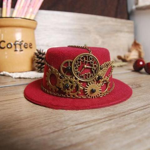 Gothic Ladies Steampunk Mini Top Hat Red Halloween Fancy Dress Custume Hats With Gears Chain Accessories Handmade