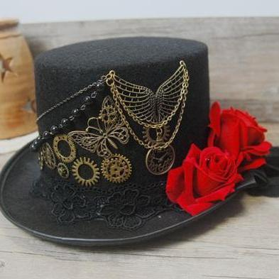 Vintage Stunning Unique Steampunk Top Hat Black Gears Lace Veil Rose Wings Chain Hats Party Accessories