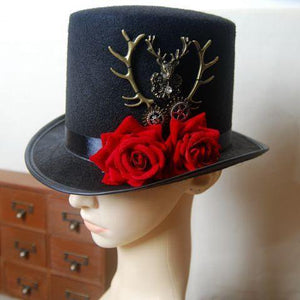 Steampunk Gear & Deer Head Top Hat Retro Gothic Lolita Fedoras Hats with Rose Flower Punk Hats Cosplay Party Hair Accessories