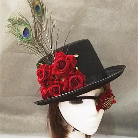 Handmade Gothic Peacock Feather Rose Flowers Steampunk Top Hat Handmade Vintage Hats With Eye Patch Blinder