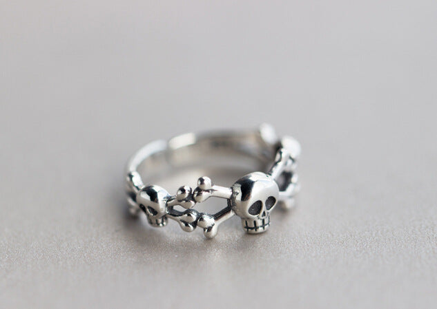 Flyleaf Steampunk Skull Sterling Silver Open Rings For Women Men Personality Prevent Allergy Sterling-silver-jewelry