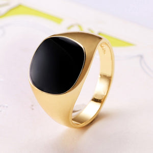 Fashion Black Enamel Men Ring Stainless Steel Men Jewelry Finger Ring Steampunk Bijoux Gold Color Male Rings anillos