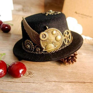 Unique Stunning Black Steampunk Mini Top Hat Gears Wing Chain Accessories Party Hats