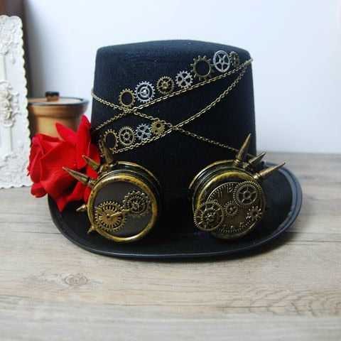 New Costume Coplay Mens Hat Steampunk Victorian Rose Top Hats With Goggles Vintage Retro