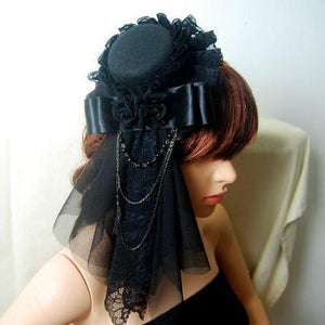 Steampunk Mini Top Hat Fascinator Veil Rose & Chains Burlesque Victorian Hats Handmade
