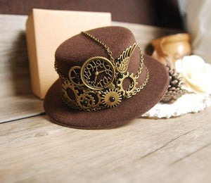 Steampunk Gear Vintage Mini Top Hat Handmade Brown Hats Party Cos-Play Accessories