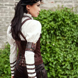 Retro Brown Faux Leather Arm Wristbands Burlesque Steampunk Gothic Victorian Accessories Corsets