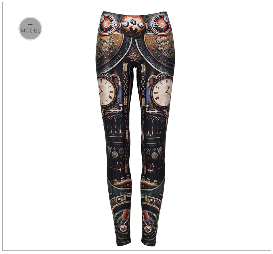 Steampunk Gear Cosplay Mechanical Dial Fitness Cosplay Leggings for Women