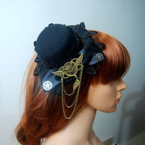 Women's Steampunk Victorian Mini Top Hat Costume Clock Gear Chains Hats Handmade Hair Clip Accessory Goth