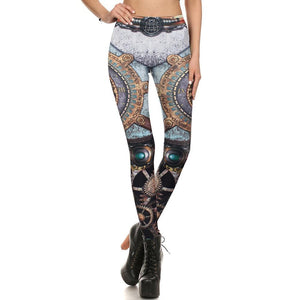 Steampunk Machinery Gear Retro Clock Fitness Cosplay Leggings for Women