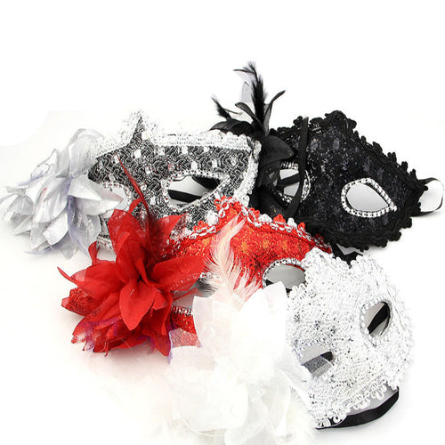 Party Eye Mask Feather Lace Flower Masquerade Ball Carnival Sexy Fancy Dress Multi Color Princess Mask for Halloween Party