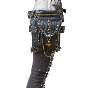 Gothic Fanny Pack For Women Men Waist Bags Unisex Messenger Bag Retro Leather Shoulder Bags Rivet Travel Crossbody Punk Pochetes