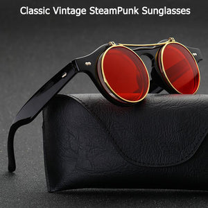 Vintage Round SteamPunk Flip Up Sunglasses