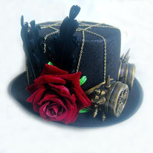 Handmade Vintage Women Steampunk Hat Rose Top Hats With Goggles Vintage Retro Cosplay Accessories