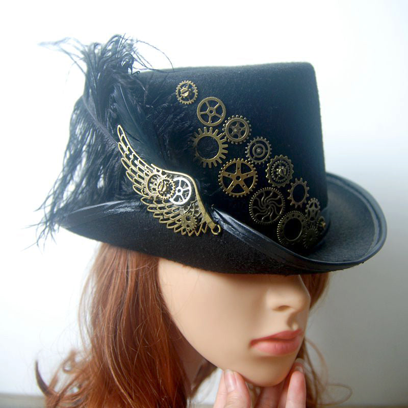 Retro Vintage Unisex Steampunk Feather Wing Gears Black Top Hat Gothic Victorian Hats Halloween Lolita Cosplay Headwear Accessor