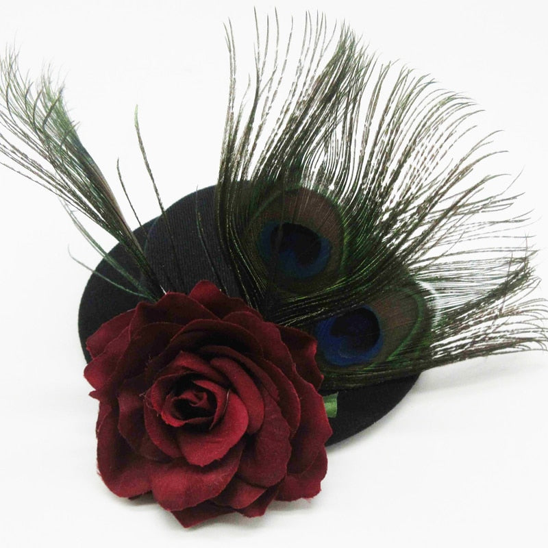 Retro Women Black Gothic Mini Top Hat Victorian Steampunk Hairclip Peacock Feather Rose Hair Accessories Christmas Gift