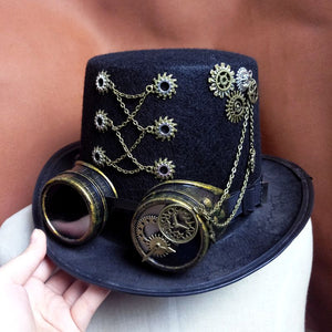 Handmade Retro Punk Unisex Party Black Hat Vintage Steampunk Gear With Gothic Goggles Top Hat Fedora Hats Accessories