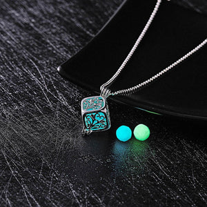 Glow In The Dark Necklace Moon Square Heart Necklaces For Woman Hollow Water Drop Pendant Night Fluorescence Light Accessories