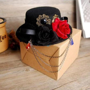 Handmade Alice in Wonderland Inspired Lolita Cosplay Mini Top Hat Black Red Rose Flower Party Hats Accessories Steampunk