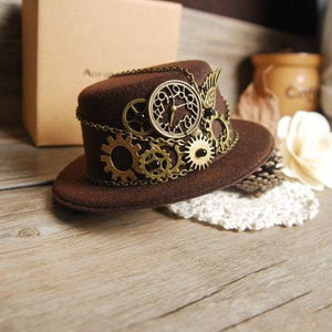 Retro Steampunk Gear Vintage Mini Top Hat Handmade Brown Hats Party Cos-Play Accessories Vintage
