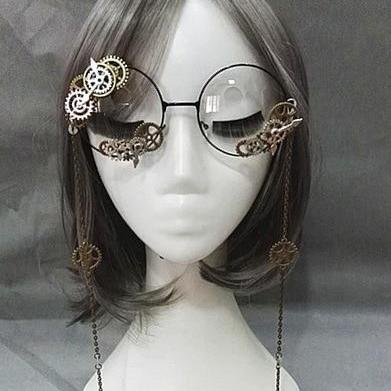 Retro Baroque Style Lolita Manual Glasses with Chain Gears Gothic Punk  Goggles Steampunk Gear Glass