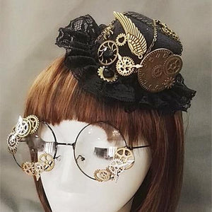 Steampunk Victorian Mini Top Hat & Glasses