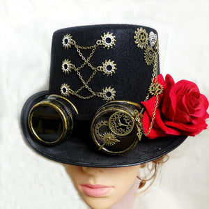 Steam Punk Man/Woman Unisex Black Fedora Goggles Gear Clock Wheels Top Hat Party Cosplay Hats Accessories Goth