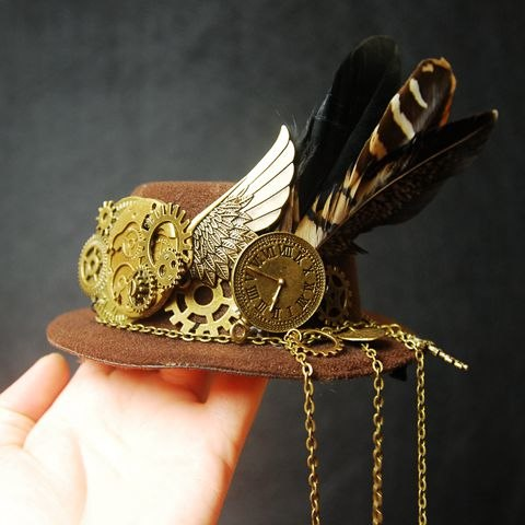 Punk Gothic Mini Top Brown Hat Victorian Steampunk Hair clip Gear Feather Wing Hair Accessories
