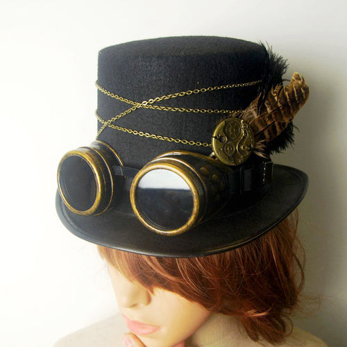 Gothic Vintage Steam Punk Hat Gear Goggles Chain Glasses Top Hat Punk Unisex Party Black Fedora Hats Handmade Retro Cosplay Acce