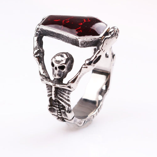 Steampunk Biker Men Boys Vampire Gothic Skeleton Coffin Ring With Red Crystal
