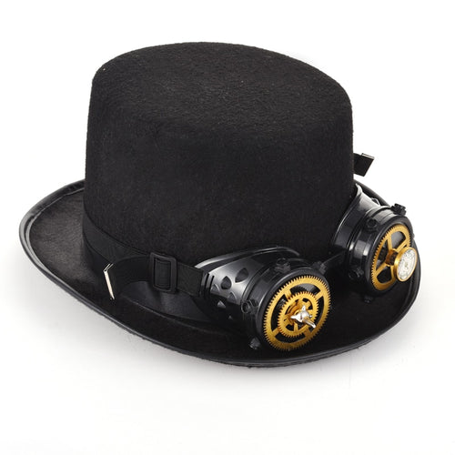 Unique Black Steampunk Top Hat Goggles Gear Cogs Spiks Vivet Glasses Gothic Hats Steam Punk