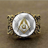 Qiyufang ring Steampunk Vintage symbol masonic illuminati freemason for men antique print illustration poster bronze silver ring