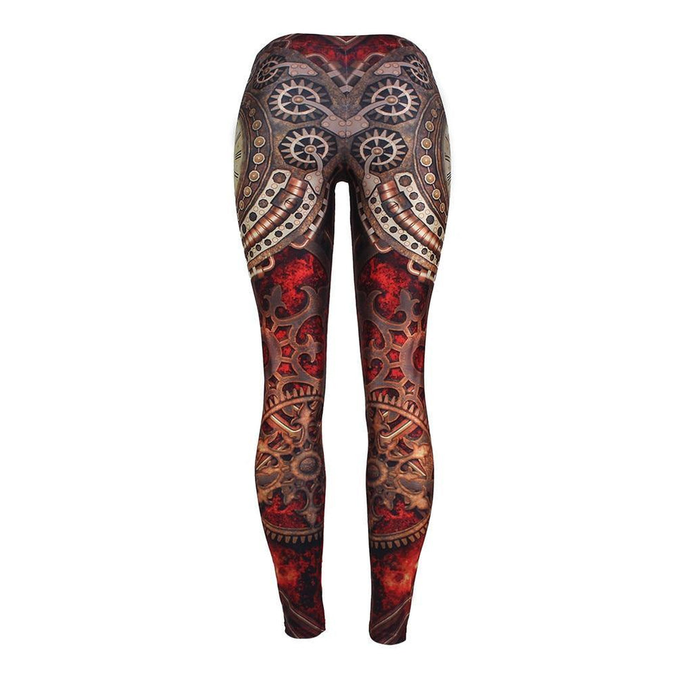 Steampunk Red Mechanic Clock Gold Gears Fitness Cosplay Leggings for Women